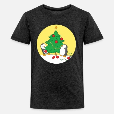 Christmas Penguins decorating Christmas Tree - Kids' Premium T-Shirt