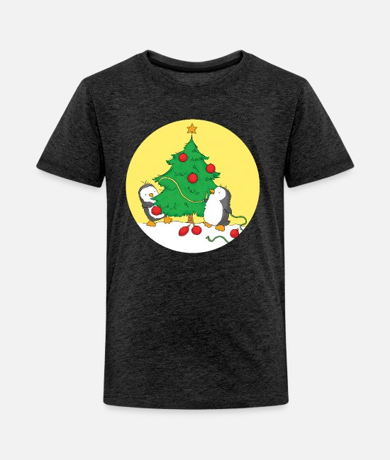 Brothers T-Shirts - Penguins decorating Christmas Tree - Kids' Premium T-Shirt charcoal gray