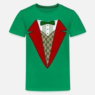 Christmas Funny Christmas Tuxedo, Red and Green Tux - Kids' Premium T-Shirt