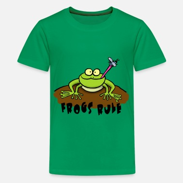 Bullfrog Frogs Rule cartoon frog - Kids' Premium T-Shirt