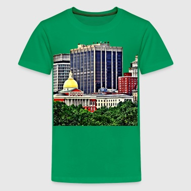 Boston MA - Skyline with Massachusetts State House - Kids' Premium T-Shirt