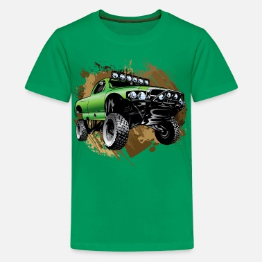 Race Truck Mudding Green Race Truck - Kids' Premium T-Shirt