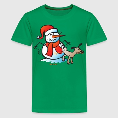 Pissing Dog Dog Pissing on a Snowman - Kids' Premium T-Shirt