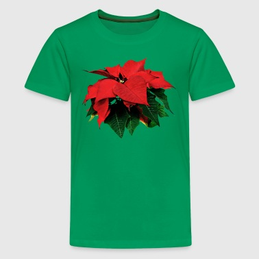 Poinsettia and Leaves - Kids' Premium T-Shirt