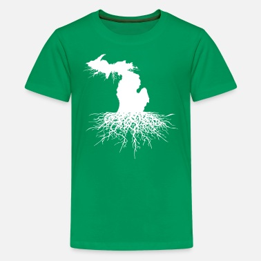 Rooted State Of Michigan Rooted Vector Roots Silhouette  - Kids' Premium T-Shirt
