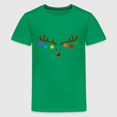 Funny Christmas Reindeer Antlers With Bulbs - Kids' Premium T-Shirt