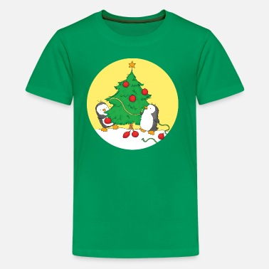 3a422b7c2 Christmas Penguins decorating Christmas Tree - Kids' Premium T-Shirt.  Kids' ...