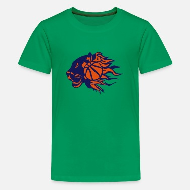 Basketball Panther panther basketball fire flame logo - Kids' Premium T-Shirt
