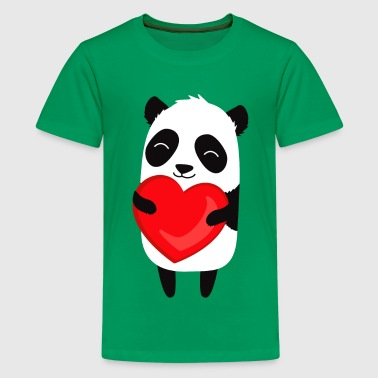 Panda love. Cute cartoon illustration - Kids' Premium T-Shirt