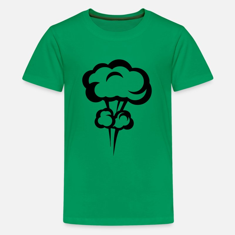 Explosion T-Shirts - explosion mushroom cloud drawing 3023 - Kids' Premium T-Shirt kelly green
