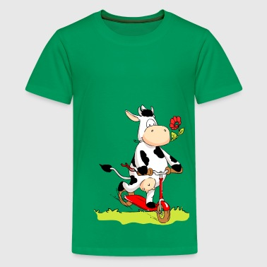 Kick Scooter Cow on Kick Scooter - Kids' Premium T-Shirt