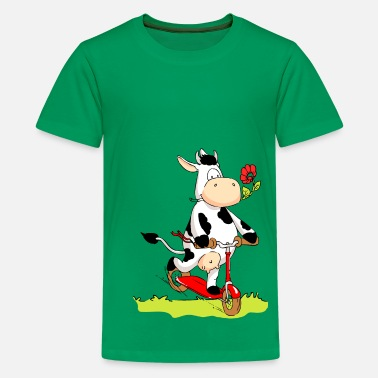 Cute Cow Cow on Kick Scooter - Kids' Premium T-Shirt
