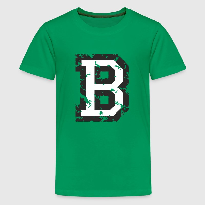 Letter B (Distressed) Black/White - Kids' Premium T-Shirt