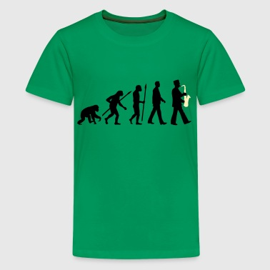 evolution of man marching band saxophone_112015_ - Kids' Premium T-Shirt