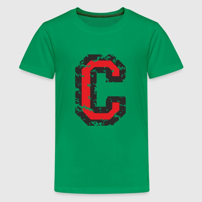 Letter C (Distressed) Black/Red - Kids' Premium T-Shirt