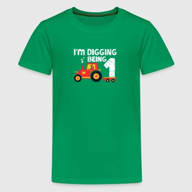 Cute 1th Birthday Boy Farm Tractor Kid Age 1 Year - Kids' Premium T-Shirt