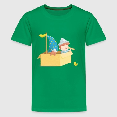 Cute Sailor Boy in Box - Kids' Premium T-Shirt