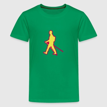 Stick Drawing nordic walking stick drawing traces logo - Kids' Premium T-Shirt