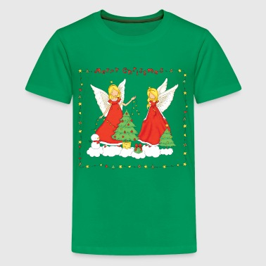 Christmas Angels with tree (Merry Christmas). - Kids' Premium T-Shirt