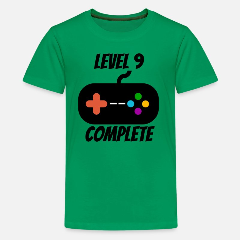 Level T-Shirts - Level 9 Complete 9th Birthday - Kids' Premium T-Shirt kelly green