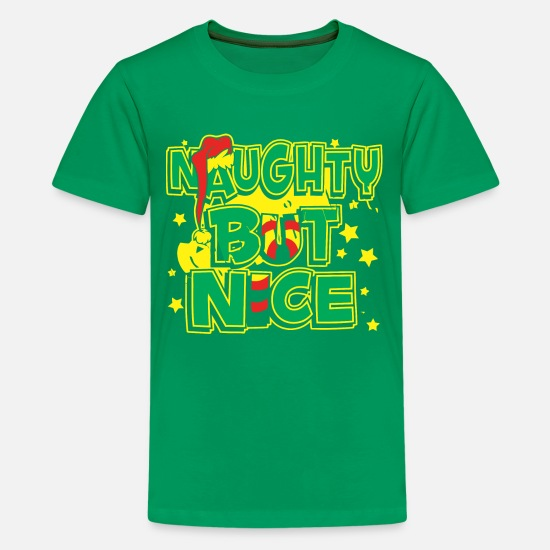 Nice T-Shirts - NAUGHTY NICE - Kids' Premium T-Shirt kelly green