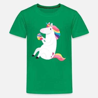 Unicorn with Cupcake Rainbow Fairy Pony Horse - Kids' Premium T-Shirt