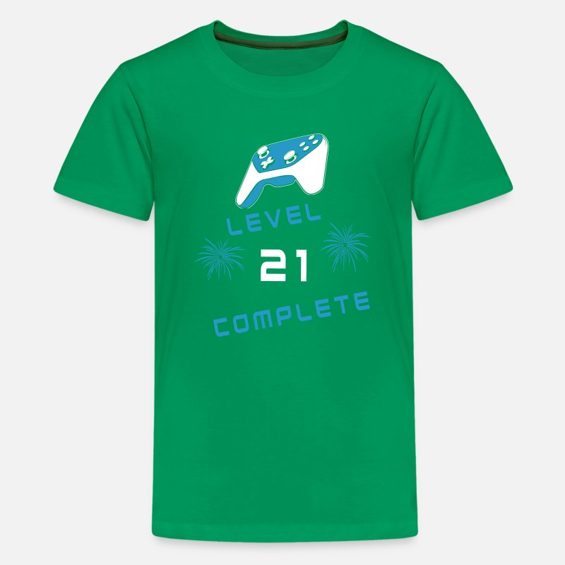 Level 21 Gamer Console Birthday Age Nerd Gift Kids Premium T Shirt
