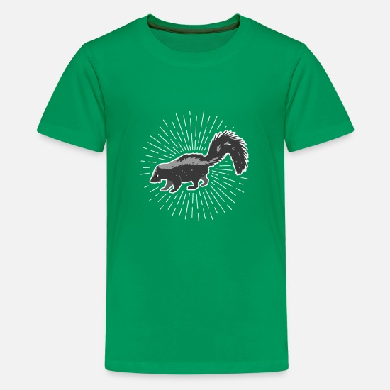 Stinker T-Shirts - Skunk Animal Mephitidae Stinker Stinking - Kids' Premium T-Shirt kelly green