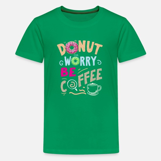 Coffee Bean T-Shirts - Coffee Donut caffeine motivation funny gifts - Kids' Premium T-Shirt kelly green