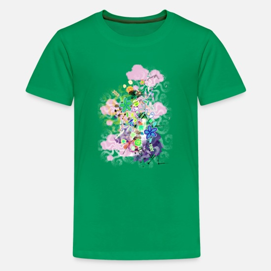 Flowers T-Shirts - abstract spring flowers - Kids' Premium T-Shirt kelly green
