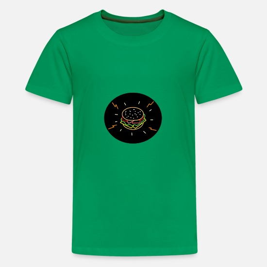 Lunch T-Shirts - Cheeseburger Retro Neon Sign Oval - Kids' Premium T-Shirt kelly green