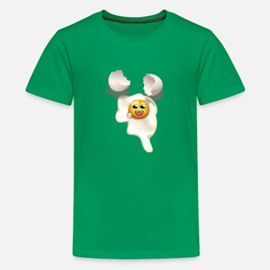 Eggshell Fried egg with smiley and broken eggshell - Kids' Premium T-Shirt
