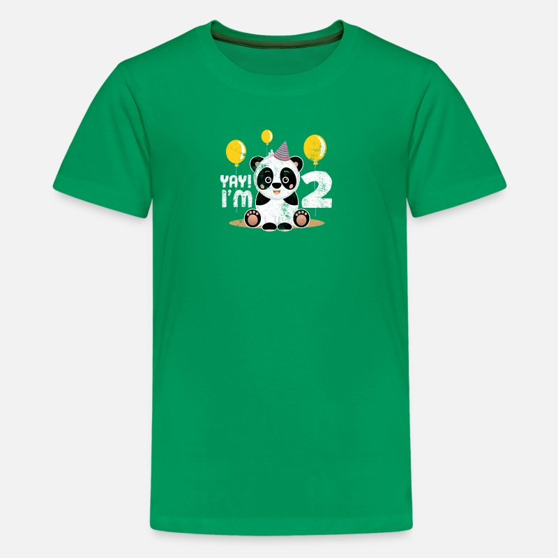 Cute 2nd Birthday Panda Kid Boy Girl 2 Years Old Kids Premium T