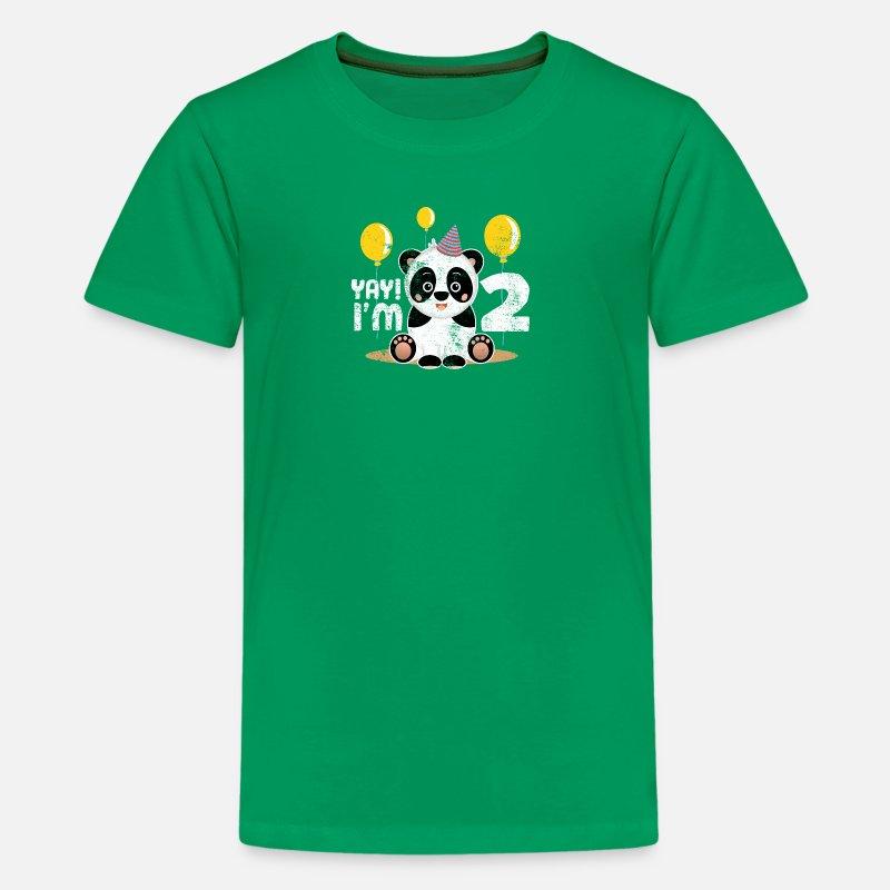 Kids Premium T ShirtCute 2nd Birthday Panda Kid Boy Girl 2 Years Old