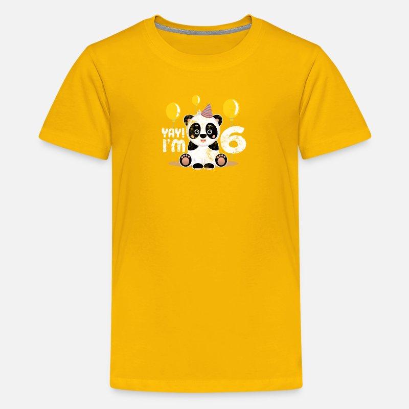Cute 6th Birthday Panda Kid Boy Girl 6 Years Old Kids Premium T Shirt