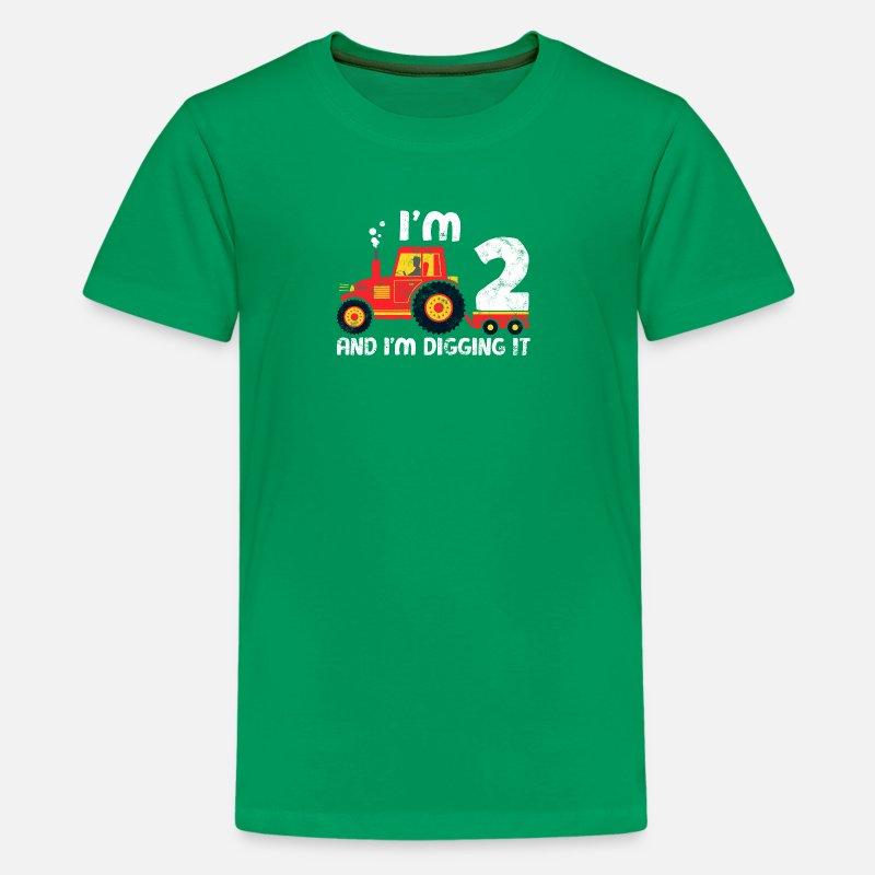 Cute 2nd Birthday Boy Farm Tractor Kid Age 2 Years Kids Premium T Shirt
