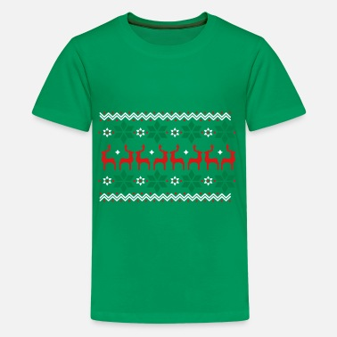 Christmas Poinsettia pattern and reindeer pattern  - Kids' Premium T-Shirt