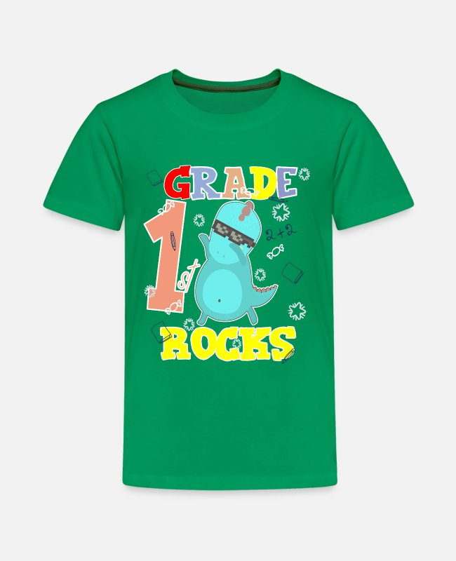 School Beginner T-Shirts - 1ST GRADE ROCKS First Grader School Starter Shirt - Kids' Premium T-Shirt kelly green