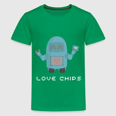 robot loves chips (Geek Humour) - Kids' Premium T-Shirt