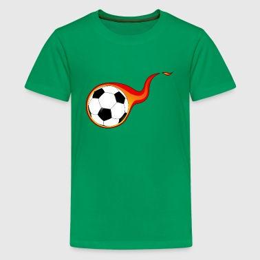 Flaming Soccer Ball - Kids' Premium T-Shirt