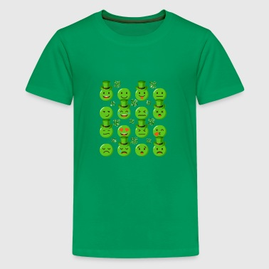 Emojis With Green Hats Shamrocks St Patricks Day - Kids' Premium T-Shirt