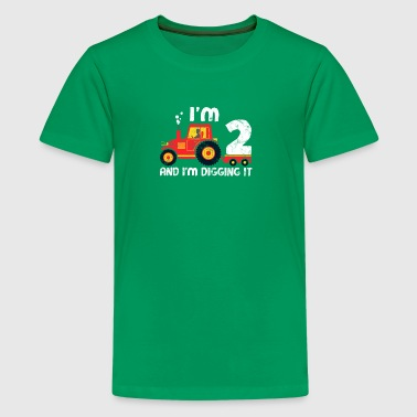 Cute 2nd Birthday Boy Farm Tractor Kid Age 2 Years - Kids' Premium T-Shirt