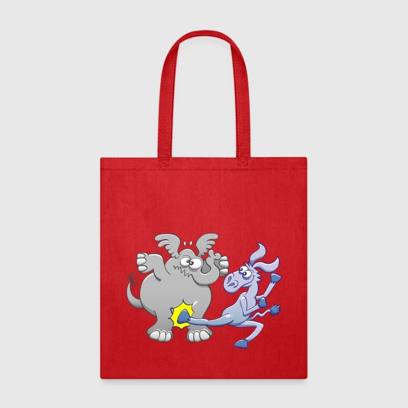 Democrat Donkey Kicking Republican Elephant - Tote Bag