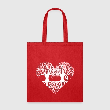 valentine's day tree heart love roots couple kiss  - Tote Bag