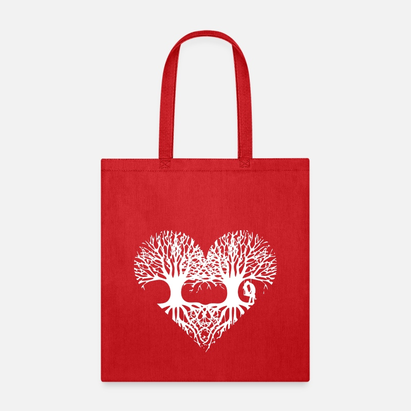 Love Bags & backpacks - valentine's day tree heart love roots couple kiss  - Tote Bag red