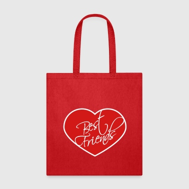 heart shape frame best friends text logo friends b - Tote Bag