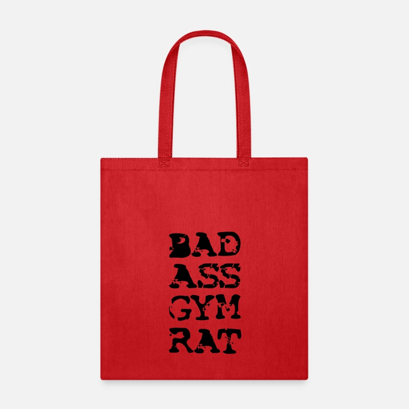 Men's Bodybuilding Attire Bags & backpacks - Bad Ass Gym Rat Exercise Workout Apparel Clothing - Tote Bag red