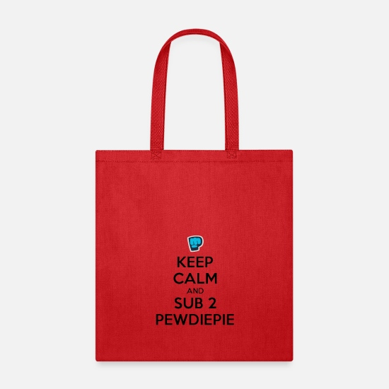 Series Bags & Backpacks - Sub to pewdie - Tote Bag red