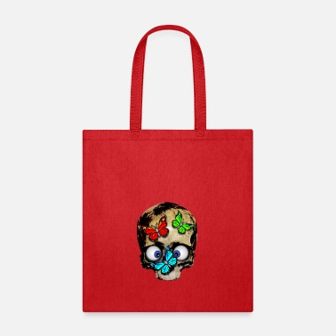 Squint Skull with butterflies - Tote Bag