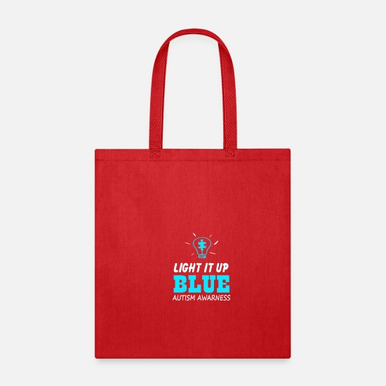 Blue Bags & Backpacks - Light It Up Blue Autism Awareness - Tote Bag red